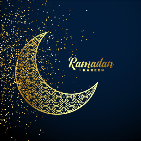 golden decorative moon with glitter ramadan kareem background