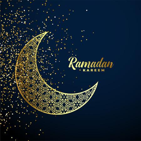 luna decorativa dorata con sfondo glitter ramadan kareem