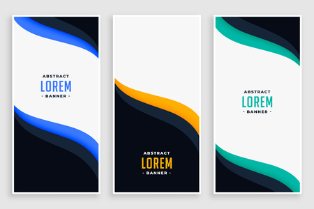 elegant business vertical banners in wave style Vetores