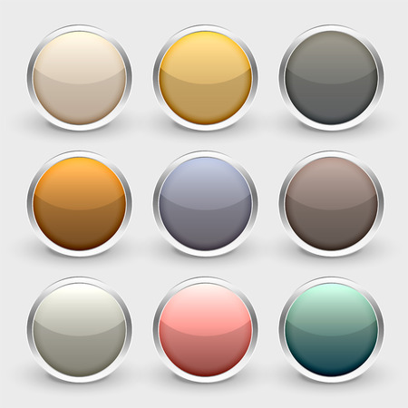 glossy metallic shiny buttons set Illustration