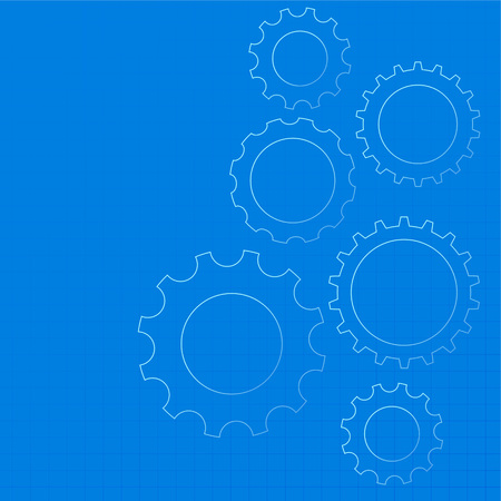 blue technical gear diagram background