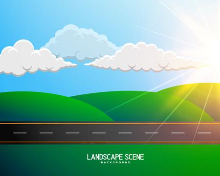 paesaggio verde dei cartoni animati con sfondo stradale