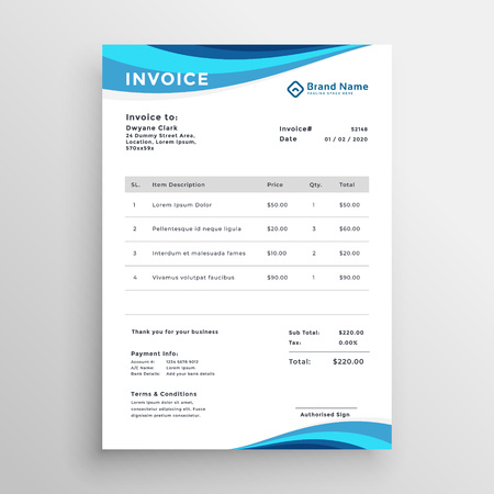 blaues Vorlagendesign für Geschäftsrechnungen