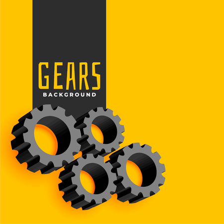 yellow background with gears symbols Ilustrace