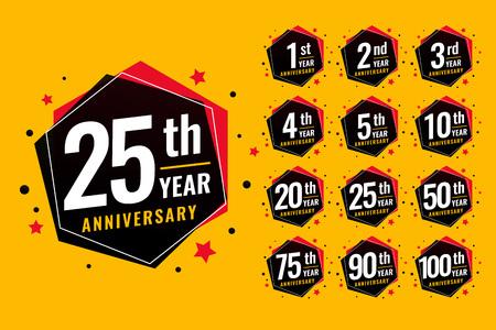 event festive anniversary labels set Ilustração