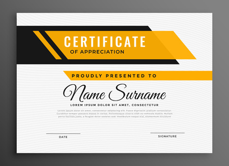 Zertifikat Diplom Vorlage in gelber Farbe
