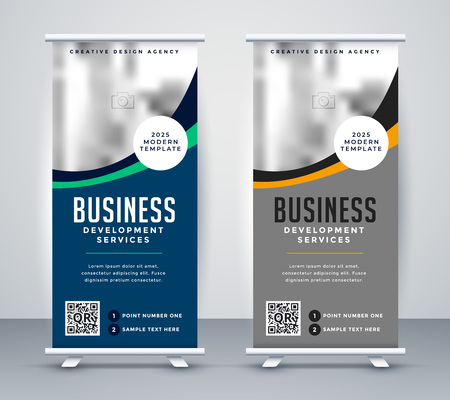 abstract wavy business standee rollup banner design Vetores