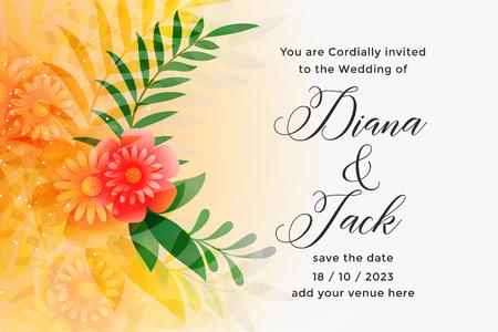 lovely orange wedding invitation card design template Ilustração