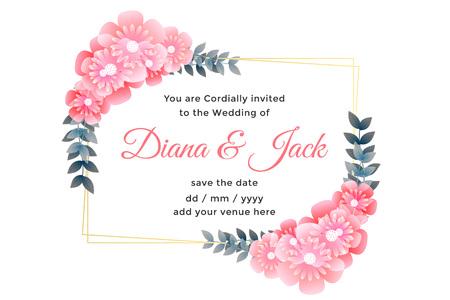 beautiful flower decorative wedding card design