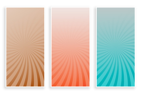 abstract colors rays sunburst banners set