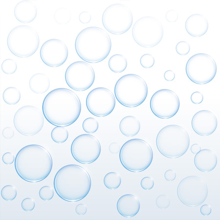 blaue Seifenwasserblasen, die auf weißem Hintergrund schwimmen