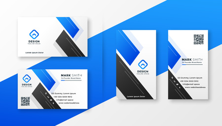 design élégant de carte de visite bleu propre