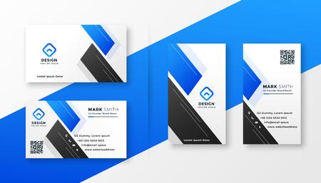 diseño elegante de la tarjeta de visita azul limpia