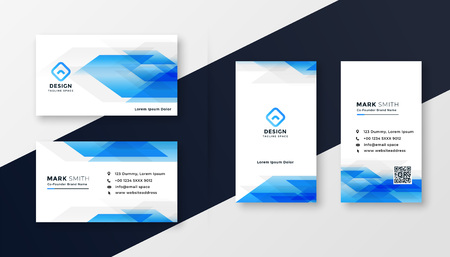 creative blue abstract business card design 矢量图像