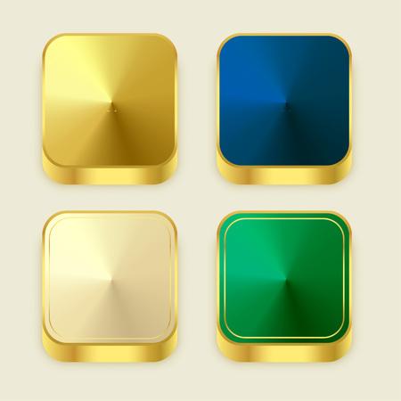 premium golden shiny 3s square buttons Illustration