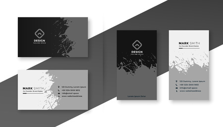 Resumen en salpicaduras de tarjetas de visita en blanco y negro