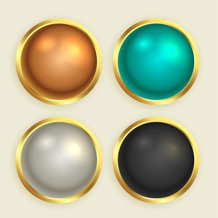 premium golden shiny buttons set