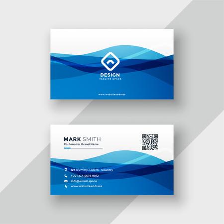diseño de tarjeta de visita azul abstracto