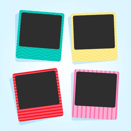 cute photo frames in different colors and patterns Ilustração Vetorial