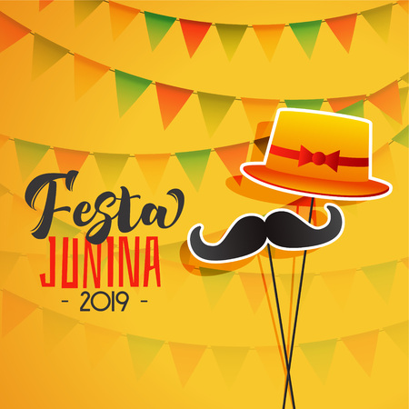 festa junina holiday background with hat and mustache