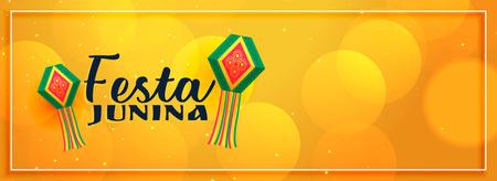yellow elegant festa junina banner design Ilustrace
