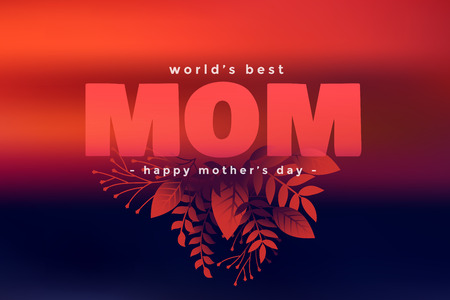 happy mothers day decorative leaves greeting