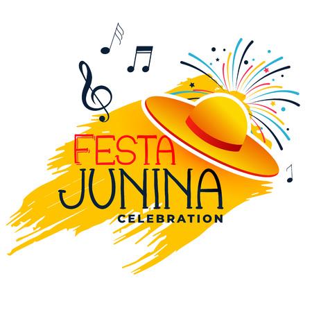 festa junina music banner with hat
