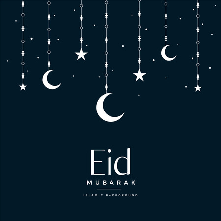 eid mubarak hanging moon and stars greeting Ilustrace