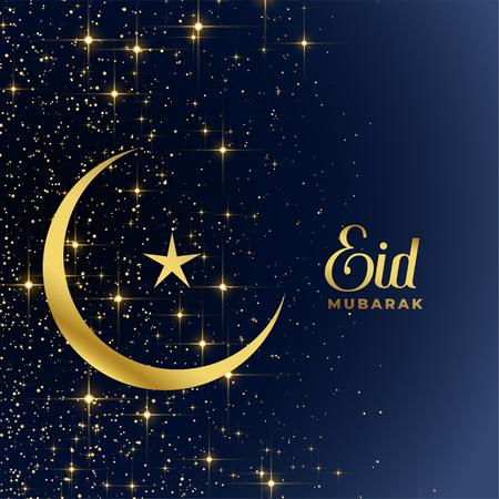 golden moon and star sparkles eid mubarak background Stock Illustratie