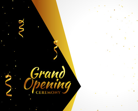 grand opening golden banner with text space