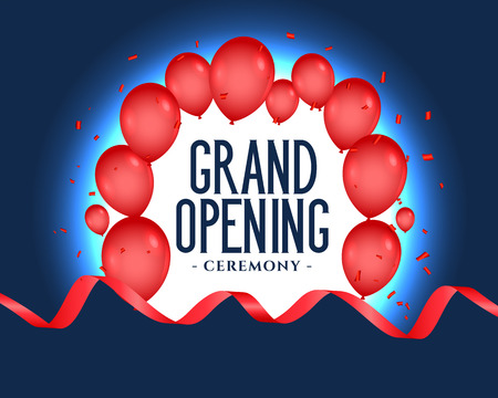 grand opening poster with balloons decoration Vector Illustration