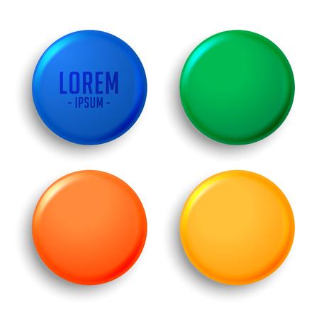 four empty magnet badges set
