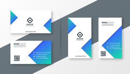 modern blue triangle business card design 向量圖像