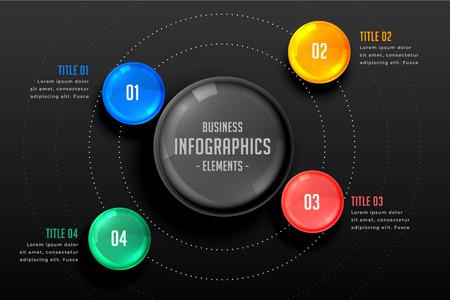 four steps infographics dark template Reklamní fotografie - 123118745