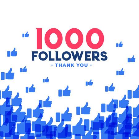 1000 followers or thousand subscribers template design Иллюстрация