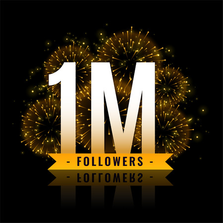 one million followers celebration fireworks background Vector Illustration