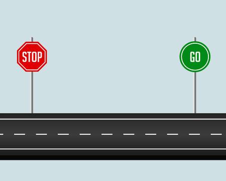 ścieżka drogowa ze znakiem stop and go