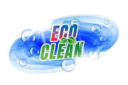 eco clean label design with bubbles