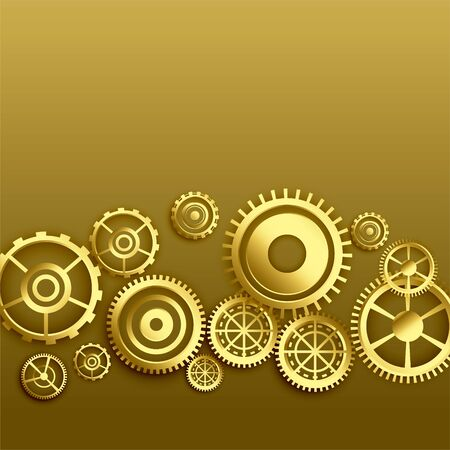 golden metallic gears background design