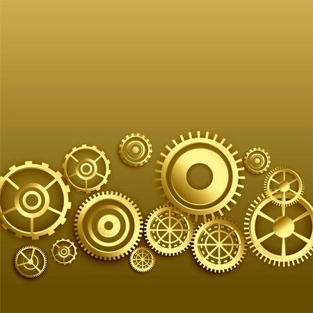 golden metallic gears background design