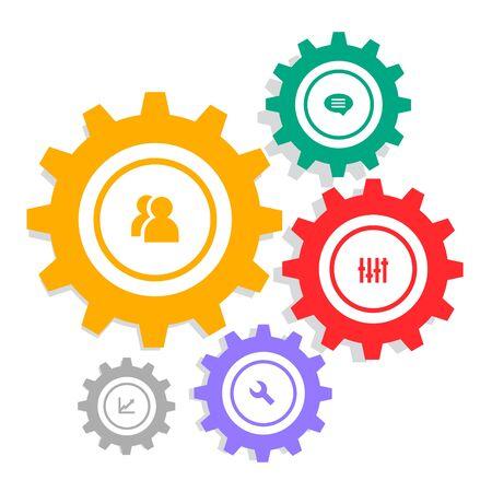 infographie à engrenages avec icônes de réglage