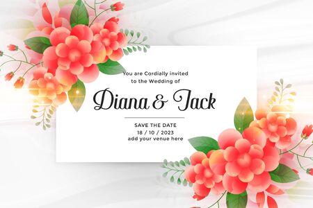 beautiful wedding invitation card with flower decoration