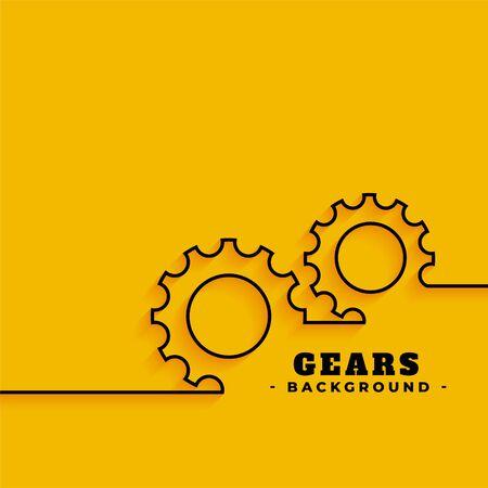 line gears symbols on yellow background Illustration