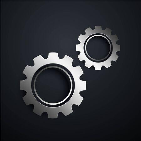 two metallic gears setting background