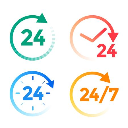 24 hours a day service icons set