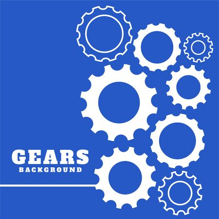 blue background with white gears setting