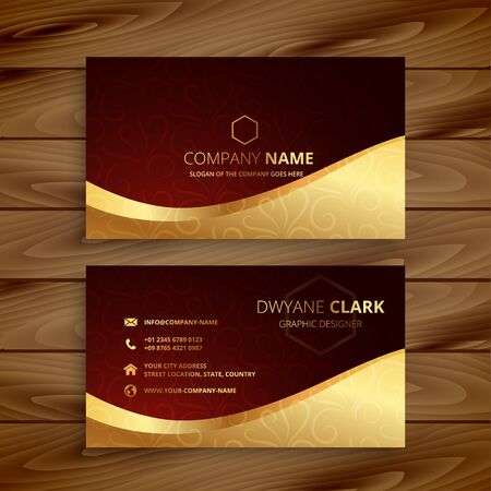 premium golden business card design Vektoros illusztráció