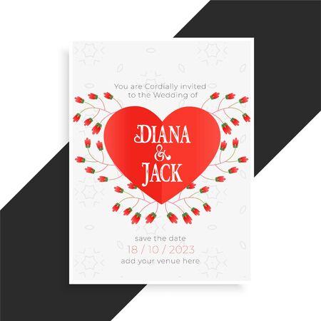 beautiful heart wedding card design