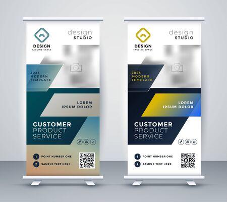 diseño de banner de negocio rollup de empresa Ilustración de vector