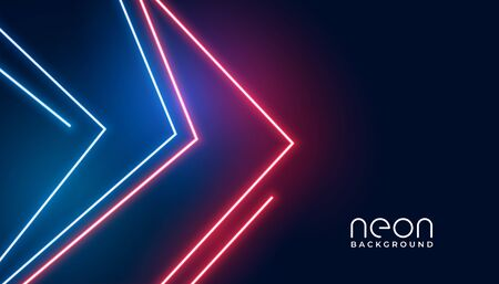 geometric arrow style neon lights banner design